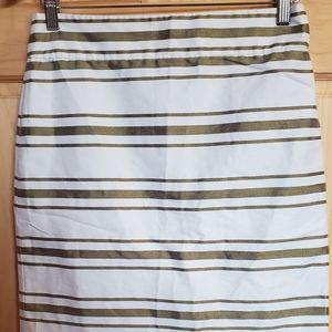 J.crew white & Metallic green skirt